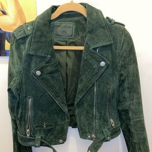 BlankNYC dark green suede motor jacket size small